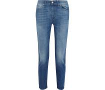 Josie Mid-rise Cropped Straight-leg Jeans Mittelblauer Denim