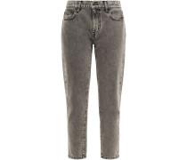 The Fling Cropped Acid-wash Mid-rise Slim-leg Jeans