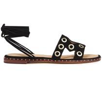 Sandalen aus Veloursleder mit Verzierung und Cut-outs