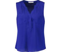 Pleated Silk-blend Top Königsblau