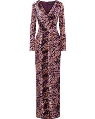 Dianora Wrap-effect Devoré-velvet Gown Purple
