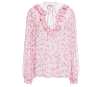 Guipure Lace-trimmed Floral-print Silk-chiffon Blouse