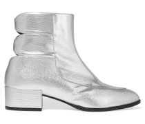 Slow Wave Cutout Lizard-effect Leather Ankle Boots Silber
