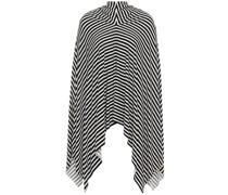 Asymmetric Draped Striped Stretch-jersey Midi Skirt