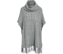 Fringe-trimmed Knitted Sweater Grau