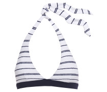 Striped Piqué Halterneck Bikini Top