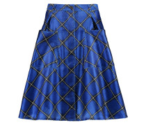 Charlotte Checked Textured-satin Skirt Königsblau