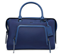 Leather-trimmed Shell Tote Navy