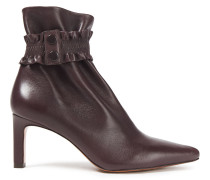 Shirred Leather Ankle Boots