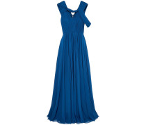 Cold-shoulder Pleated Silk-chiffon Gown