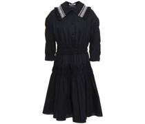 Kleid aus Popeline aus Einer Baumwollmischung mit Stickereien und Rüschenbesatz