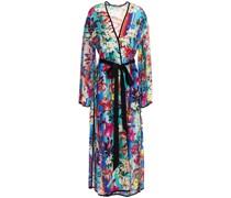 Cote D'azur Kimono aus Crêpe De Chine aus Seide mit Floralem Print