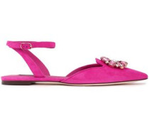 Bellucci Crystal-embellished Suede Point-toe Flats Fuchsia