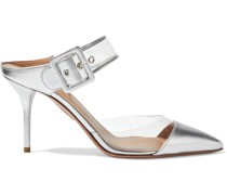 Optic 85 Buckled Metallic Leather And Pvc Mules