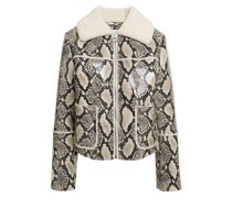 May Faux Fur-trimmed Faux Snake-effect Leather Jacket