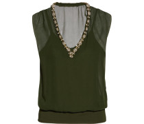 Hear That Beat Embellished Silk And Stretch-jersey Top Armeegrün