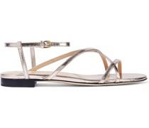 Sandalen aus Strukturiertem Leder mit Metallic-effekt