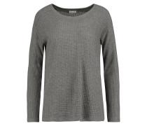 Paneled Waffle-knit Sweater Grau