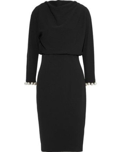 Faux Pearl-embellished Cady Dress Black