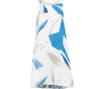 Trapeze Printed Silk-crepe Mini Dress Blau