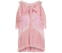 Woman Romina Pleated Floral-print Georgette Top Baby Pink