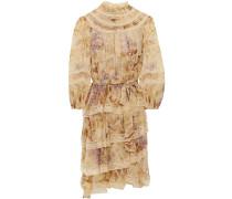 Asymmetrisches Kleid aus Seidenchiffon mit Spitzenbesatz und Blumenprint