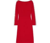 Crystal-embellished Tulle-trimmed Stretch-cady Dress