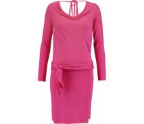 Wrap-effect Draped Modal-jersey Mini Dress Fuchsia