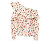 Oberteil aus Glänzendem Jacquard mit Floralem Print, Rüschen und Asymmetrischer Schulterpartie