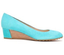 Woman Suede Wedge Pumps Turquoise