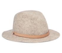 Abbott Leather-trimmed Wool-felt Fedora Neutral