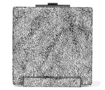 Metallic Printed Brushed-suede Clutch Schwarz