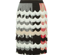 Frayed crochet-trimmed stretch wool-blend skirt