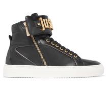 Leather High-top Sneakers Schwarz