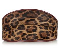 Leather-trimmed Leopard-print Calf Hair Waist Belt Leoparden-Print