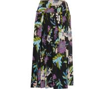 Pleated printed silk crepe de chine wrap skirt