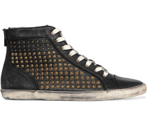 Kira Studded Textured-leather High-top Sneakers Black