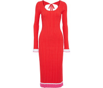 Woman Striped Ribbed-knit Midi Dress Tomato Red