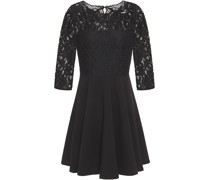 Flared Corded Lace And Crepe Mini Dress