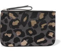 The Roxy 28 metallic leopard-print canvas clutch