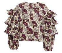 Ruffled Printed Cotton-poplin Blouse