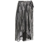 Dorie Gathered Metallic Printed Jersey Wrap Skirt