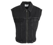 Distressed faded denim vest