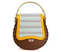 Tote Bag aus Leder mit Jacquard-einsatz