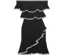 Courtside off-the-shoulder ruffled stretch-cloqué mini dress