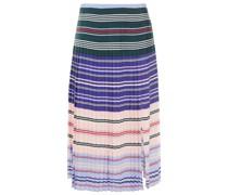 Pleated Striped Crepe De Chine Midi Skirt