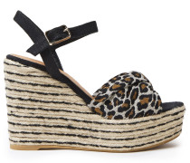 Cotton And Linen-blend Leopard-jacquard And Canvas Wedge Espadrille Sandals