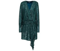 Wrap-effect Sequined Stretch-tulle Mini Dress