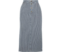 Malo Striped Denim Midi Skirt Navy