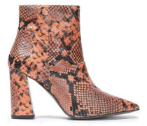 Snake-effect Leather Ankle Boots Orange
